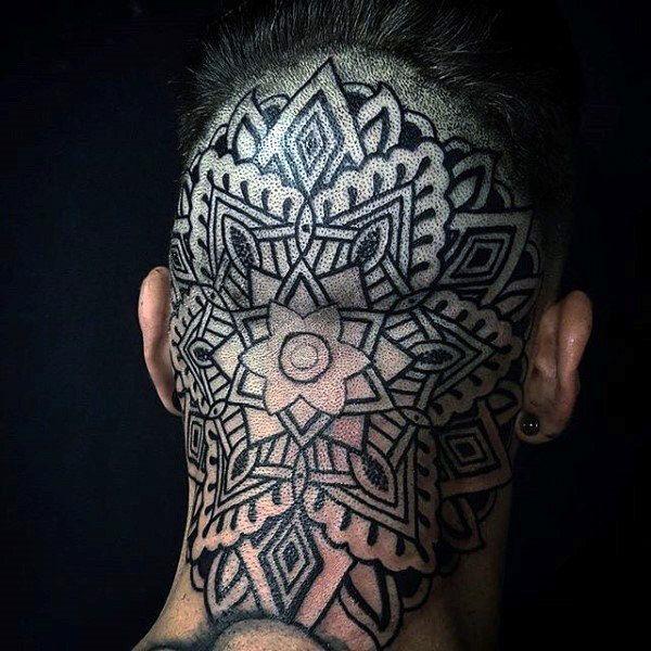 Guys Geometric Flower Pattern Back Of Head Tattoo Design Inspiration Head Tattoos Tattoos For Guys Geometric Throat Tattoo