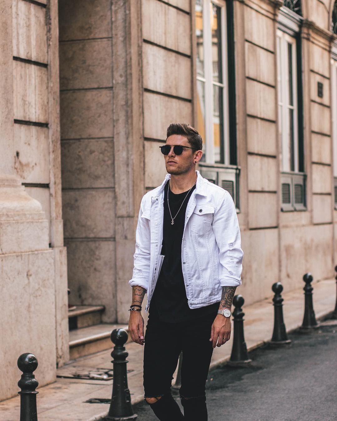 Finnerz Uk With A Street Style Minimal Combo Featuring A White Denim Jacket Black T Shirt Sunglass White Denim Jacket Mens Jeans Outfit Men White Denim Jacket