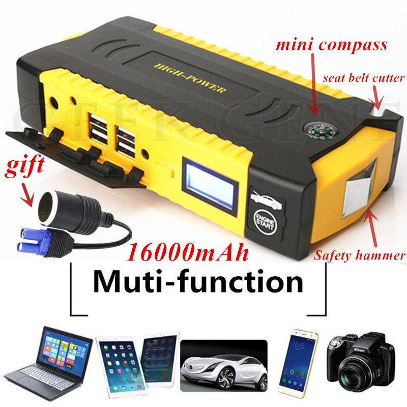 Multi-Function Car Jump Starter Emergency Battery Charger 16000mAh - Couleur Des Fils Electrique