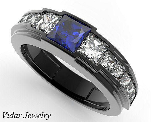 Blue Sapphire Mens Wedding Band Blue Sapphire Ring Mens Etsy Blue Sapphire Wedding Ring Black Gold Ring Sapphire Wedding Rings