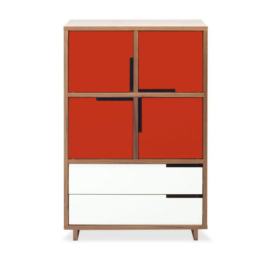 Delightful Modern Walnut Square Bedside Table With 4 Red Doors And 2 White Drawers Blue  Dot 31.5