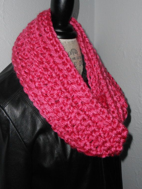Infinity Scarf Cowl Hot Pink Long Knit Chunky Handmade Crochet Infiniti Scarf...