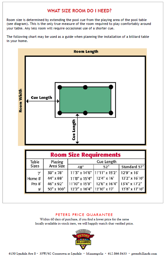 How Much Area Do You Need For A Pool Table Pool Table Dimensions - Pool table sizes and prices