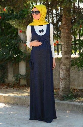 Tesettur Hamile Elbise 4061 03 Lacivert Elbise Maksi Elbiseler Moda Stilleri