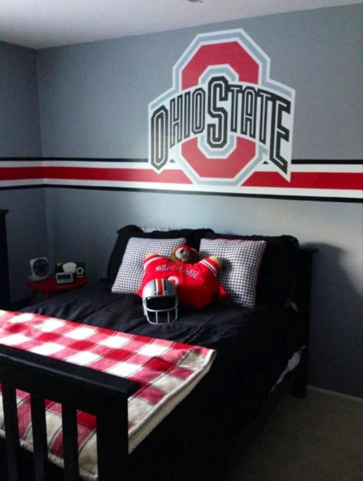 Osu bedroom ohio state pinterest bedrooms room and men cave for Ohio state bedroom paint ideas