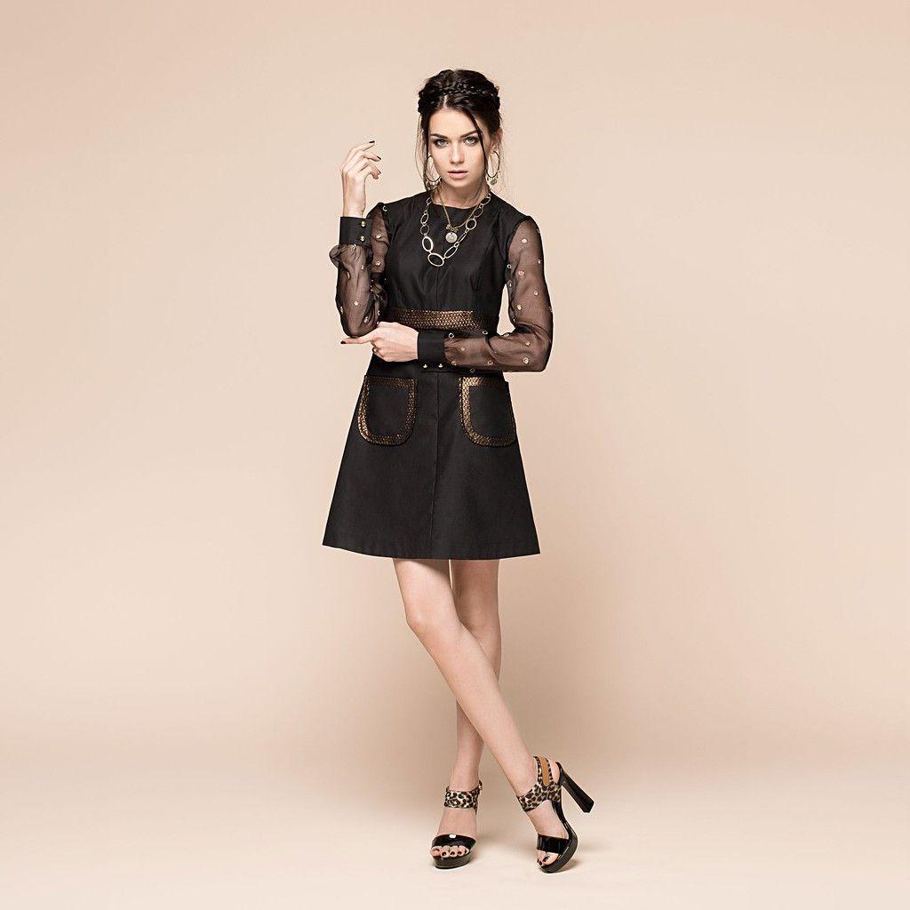 Sleeves in hot spotsu tight waist short dress with organza sleeves