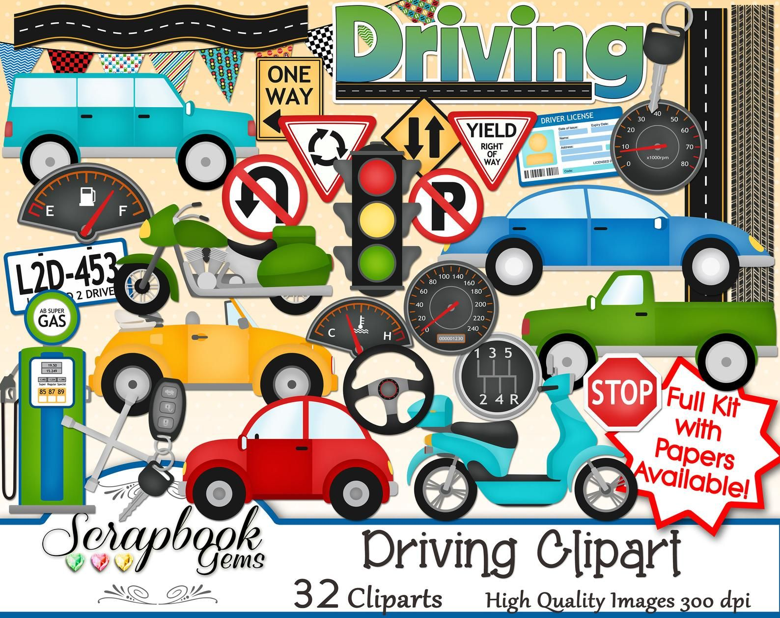 Driving Clipart 32 Clipart Files Instant Download Car