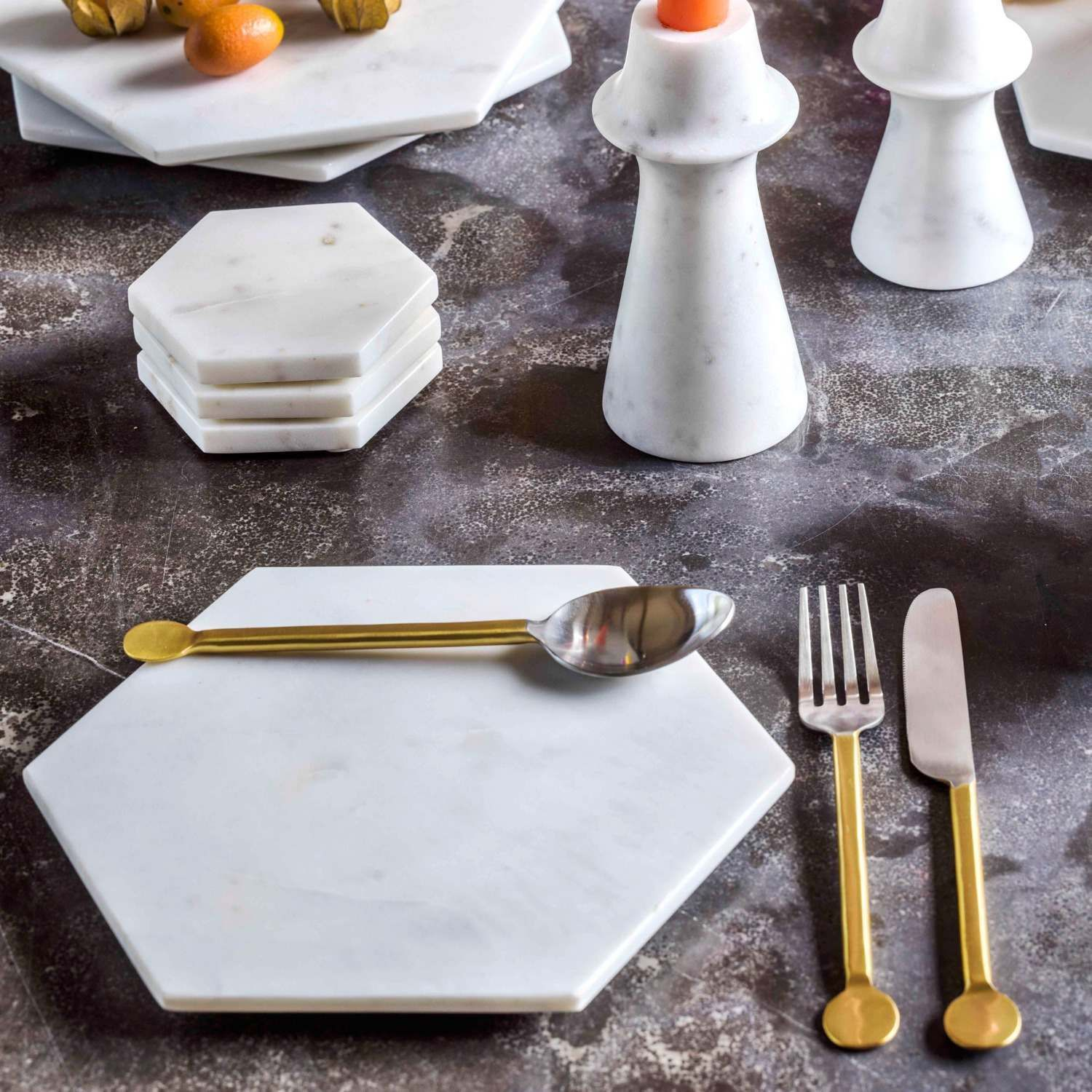 Hexagon Marble Placemats And Coasters Marble Accessories Placemats White Marble Hexagon