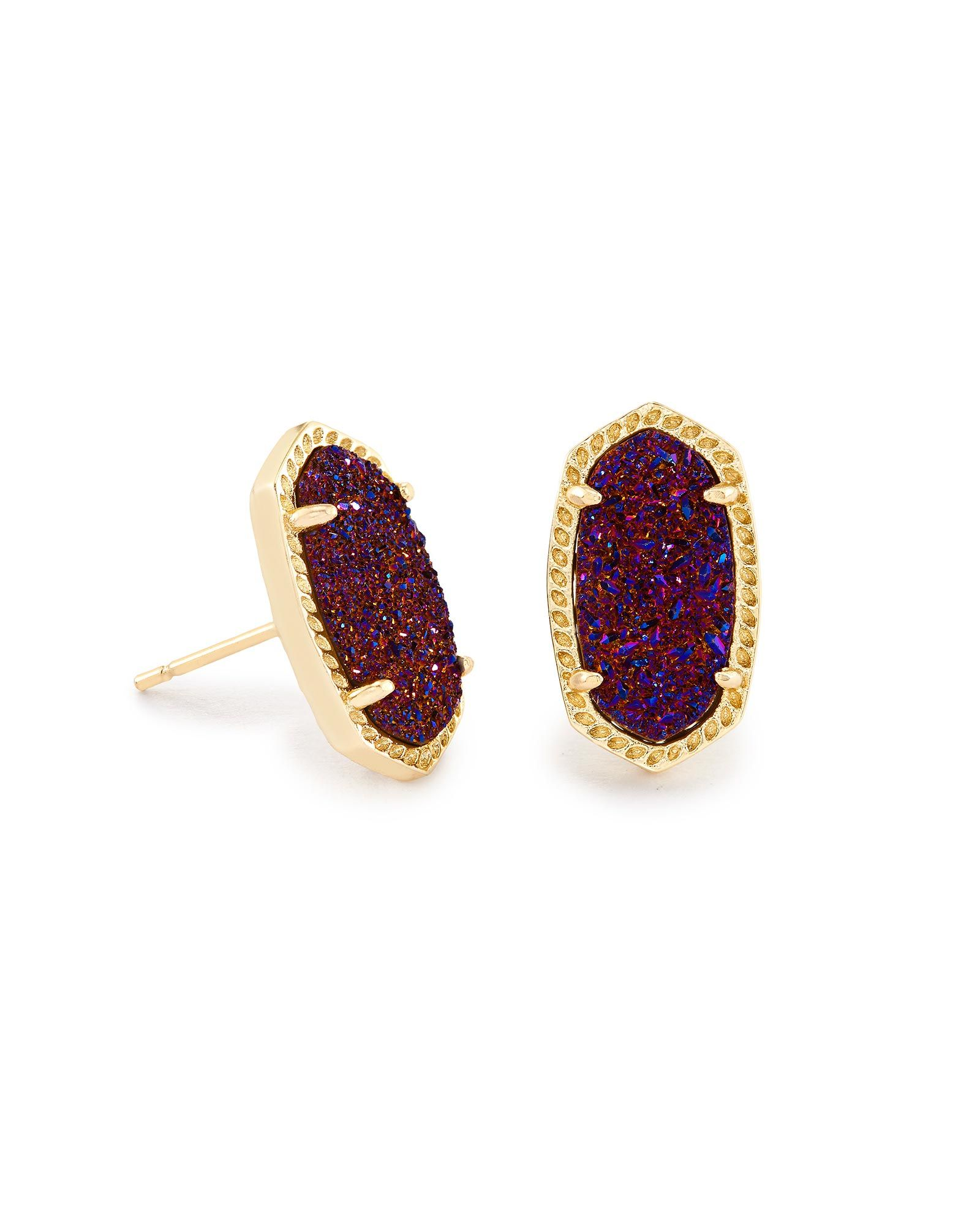 Gold Stud Earrings At Kendra Scott With A Delicate Plum Drusy Oval Stone And Metallic Post Frame The Ellie Are Must Have Accessory