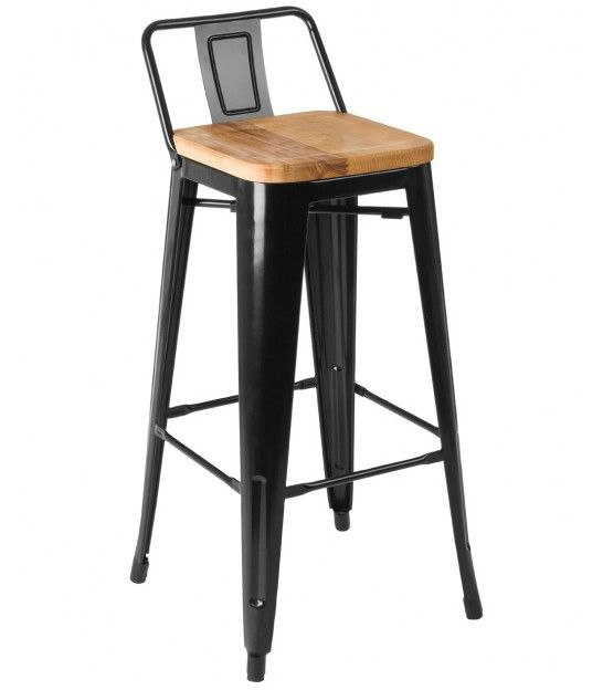 Chaise De Bar En Metal Noir Et Assie En Bois De Frene Style