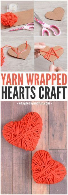 A cute and colorful easy yarn heart craft for Father's Day