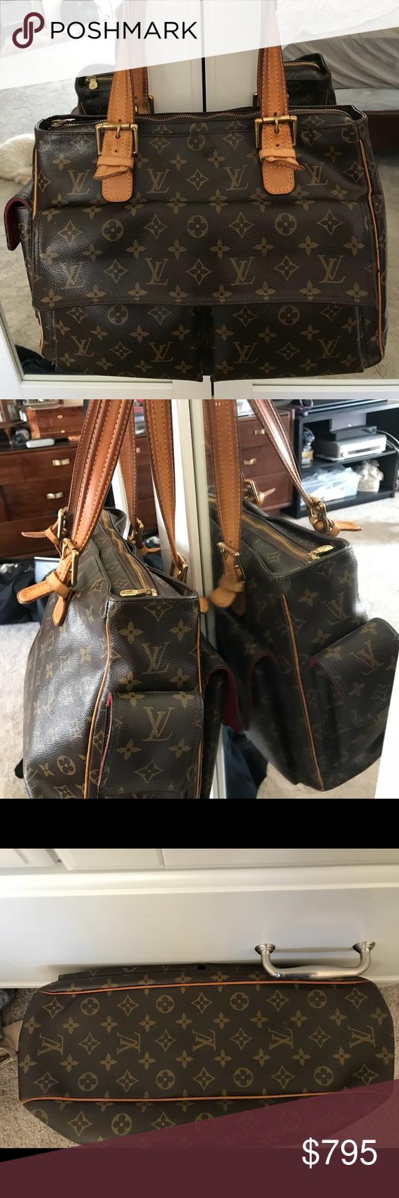 0227d23b5c6e 💙❤️LOUIS VUITTON Monogram Shoulder Bag LG   Rare ❤ 💙💎NEw PICS ...