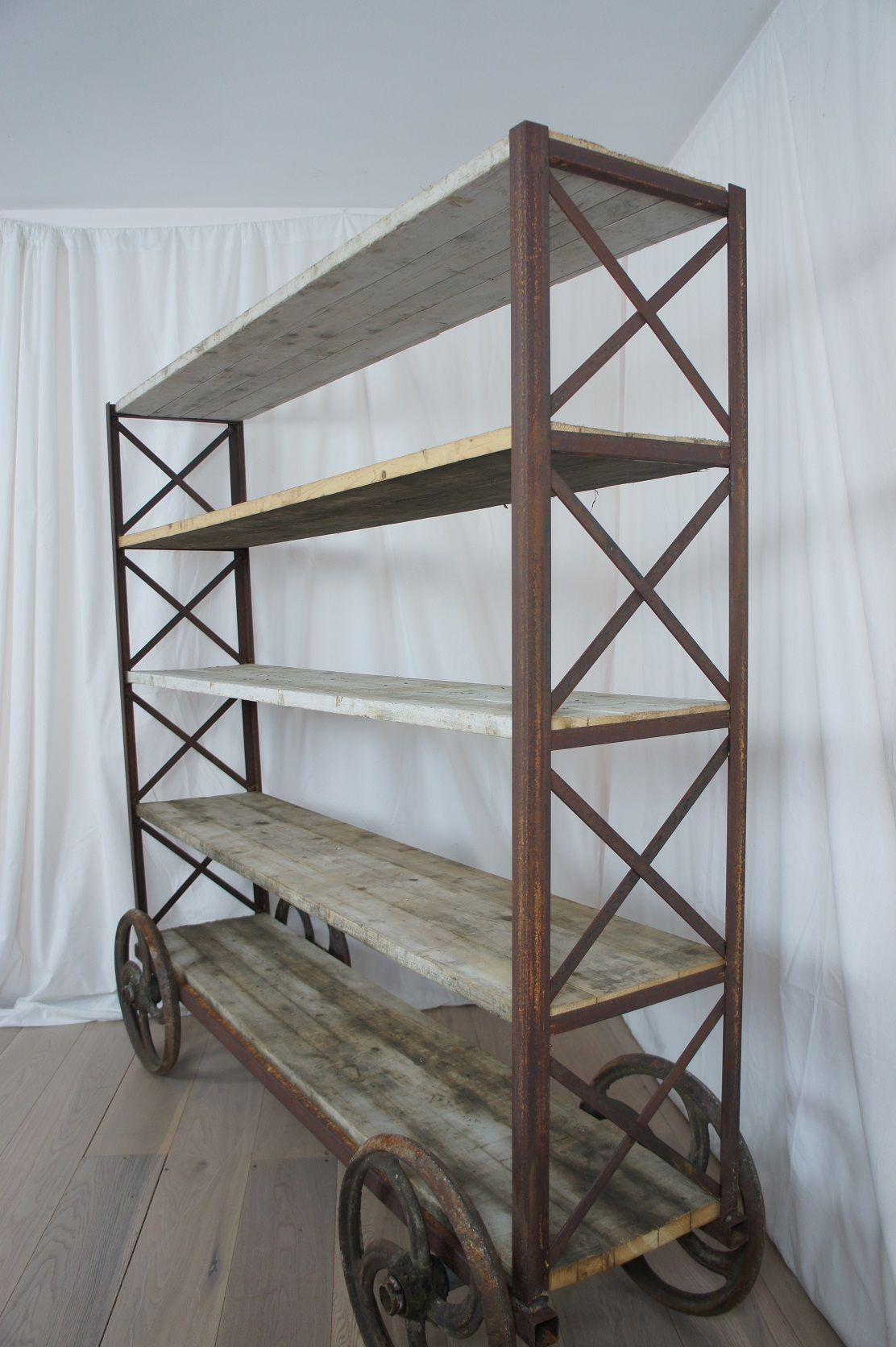 1930s Industrial Shelving Unit On Wheels Layer Vintage Mid