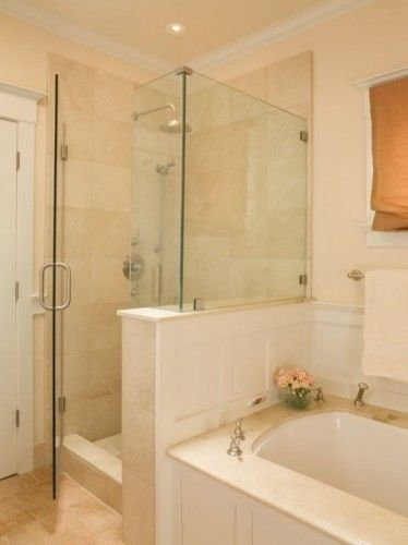 Shower To Tub Look Knock Down Existing Wall Separating Two Traditional Bathroom Bathroom Layout Small Master Bathroom