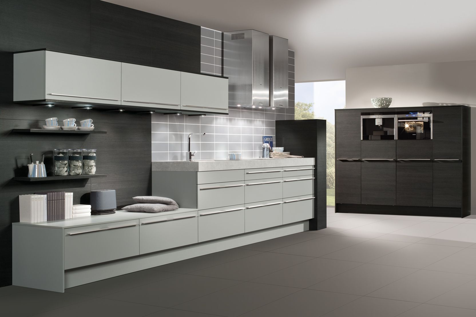 Elegant Black And White Themes German Kitchen Design Inspirations With Modern Gray Scheme Base Kitchen Cabinet That Have Storage Space And Minimalist Wall