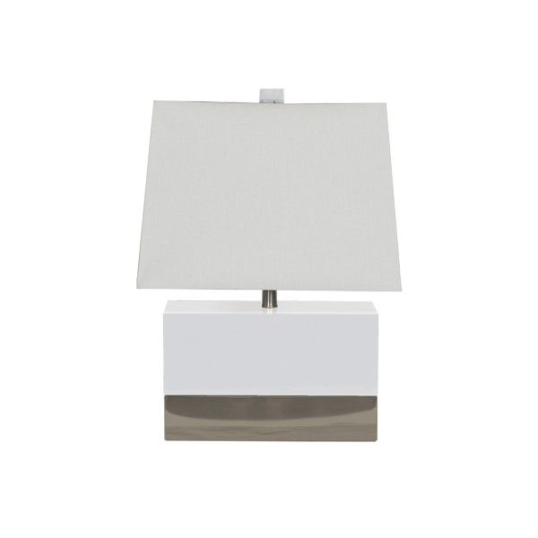 FOLEY WHN - WHITE LACQUER RECTANGULAR LAMP WITH NICKEL BASE AND WHITE RECTANGULAR SHADE.  UL APPROVED FOR ONE 60 WATT BULB