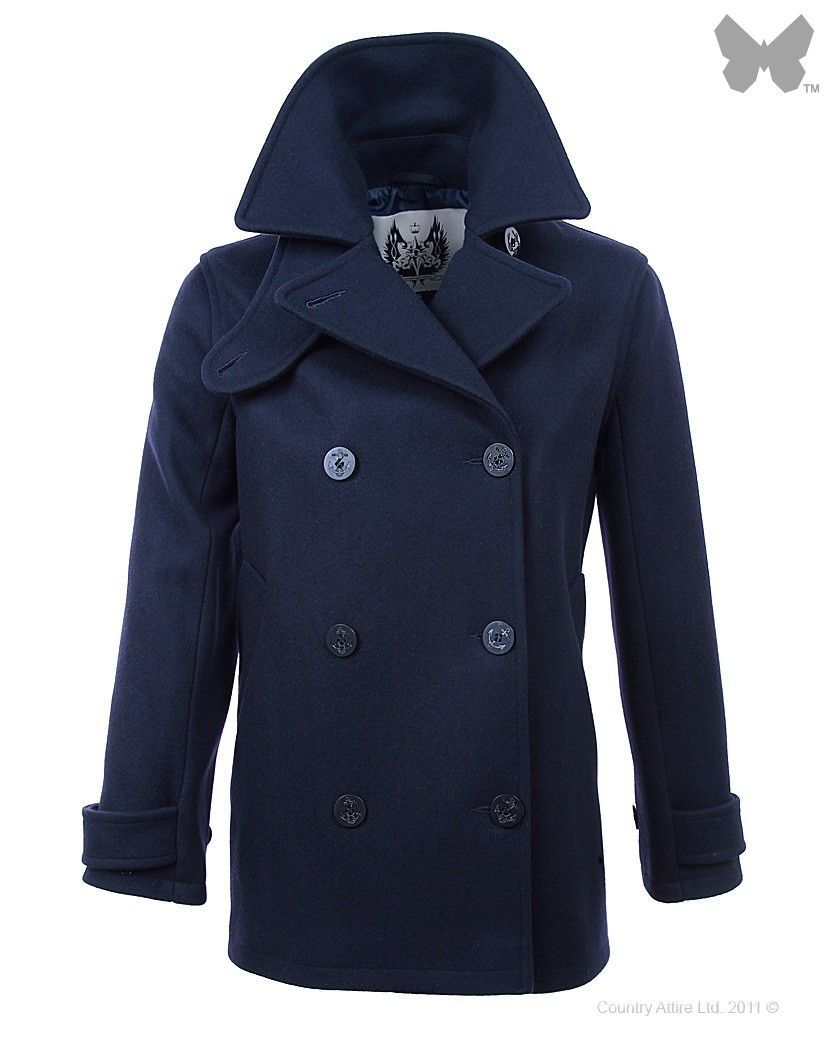 British Duffle Women's Made in England Pea Coat - Navy | Coats