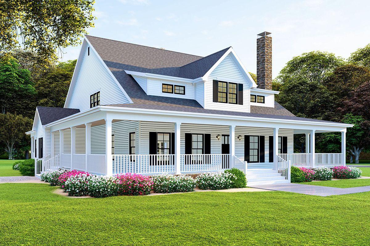 Modern Farmhouse Plan with Wraparound Porch Modern