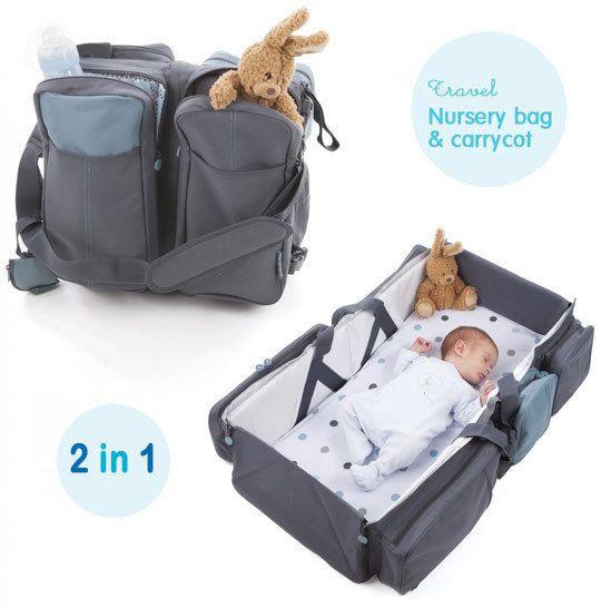 Delta Baby Travel Nursery Bag Carrycot 2 In 1 Bag Grey Genius Baby Products Baby Travel Bag Nursery Bag
