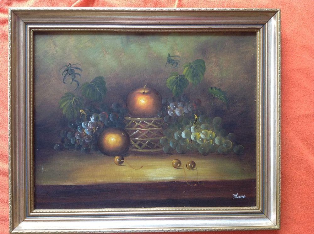 Öl Gemälde Stilleben Früchte mit Rahmen, Signiert mit Hora | Vintage ...