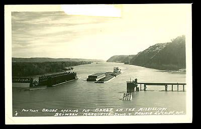 1949 Pontoon Bridge on MISSISSIPPI River RPPC-Prairie Du Chien WI & Marquette IA