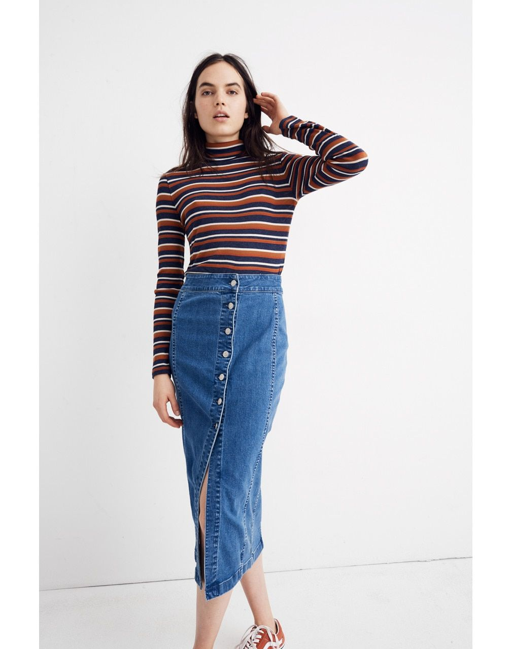 eb00fe55a Stretch Denim Side-Button Midi Skirt in 2019 | Wish List | Denim ...