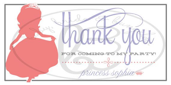 Sofia the First/ Princess Silhouette Thank by BabyBrideandBungalow, $10.00