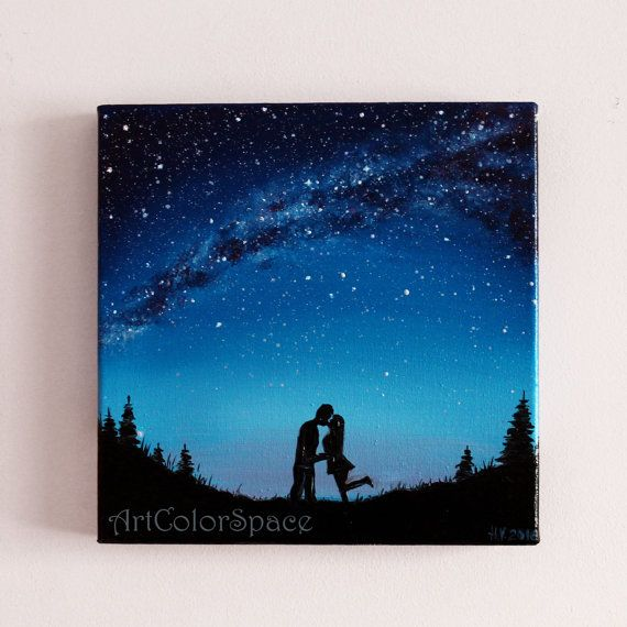 Small painting Milky Way Love painting Kiss Oil painting on canvas Galaxy painting Love couple Night sky Christmas gift