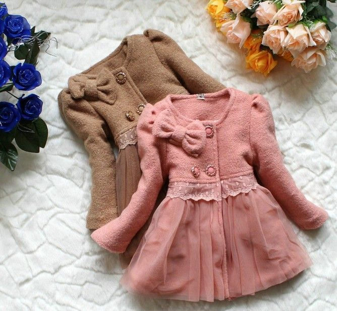 Free Shipping Winter Baby Girl Padded Woolen Coat With Bow And Mesh