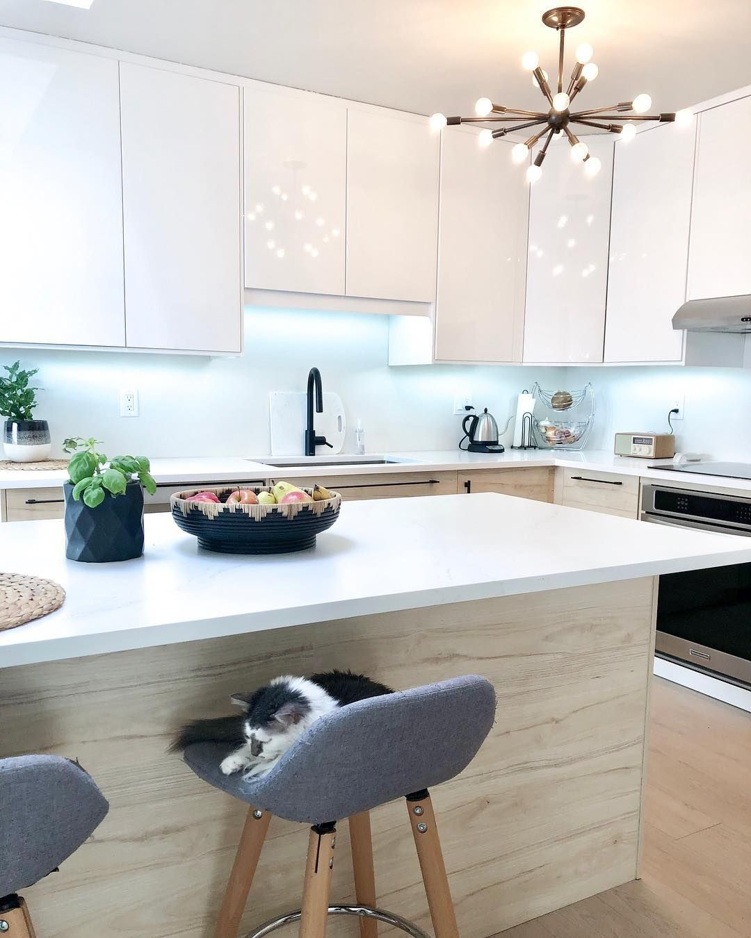 Cozy On Up To The Combination Of Ikea S Askersund Ash And Ringhult High Gloss White Cabinetr White Modern Kitchen Kitchen Cabinets For Sale Kitchen Design Open