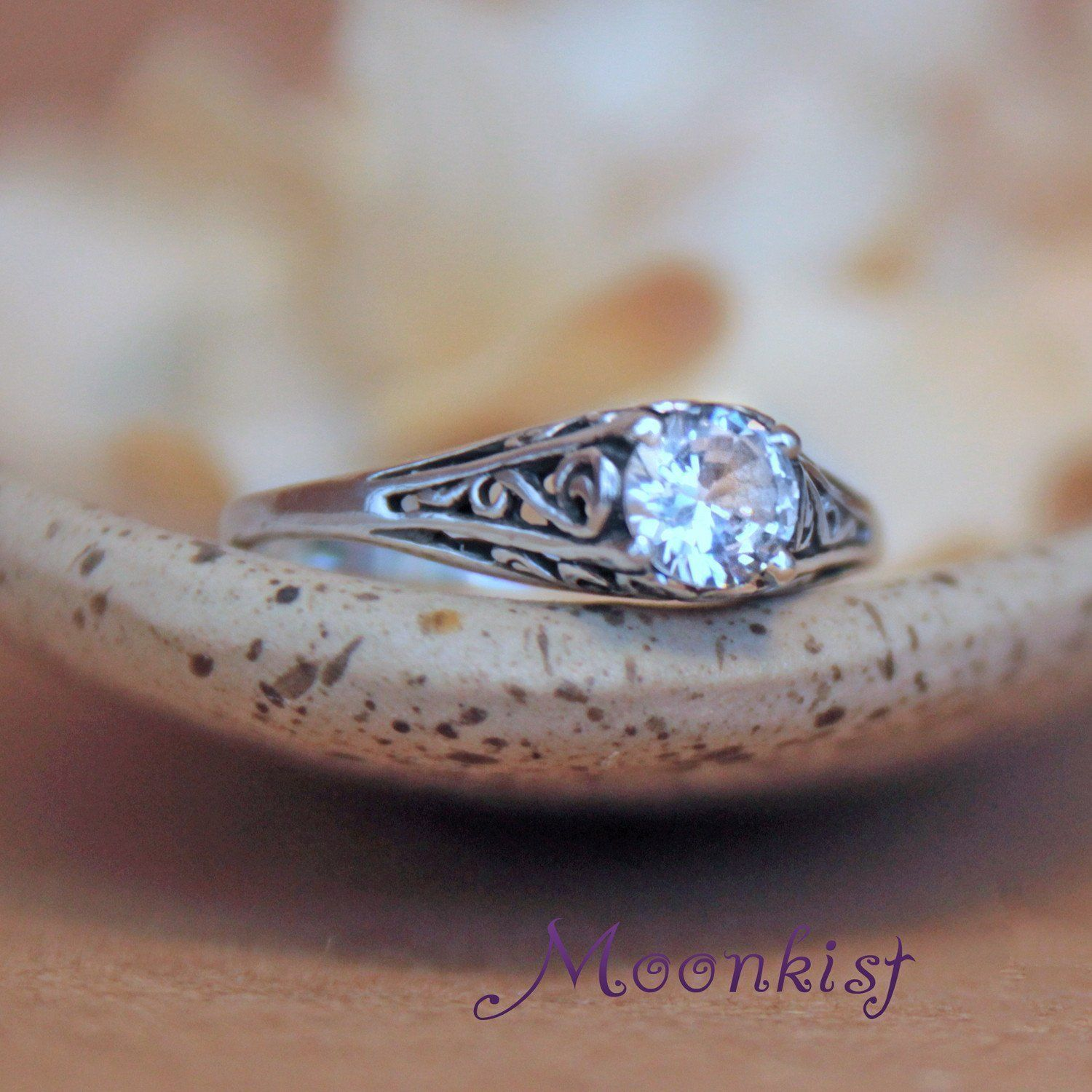 Vintage Style White Shire Dainty Filigree Silver Bridal Engagement Ring