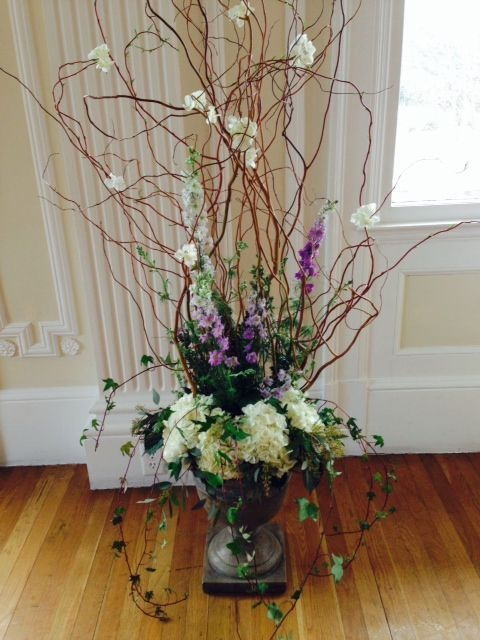 Pin By The Enchanted Florist On Wedding Centerpieces Arrangements Urn Arrangements Curly Willow Floral Centerpieces