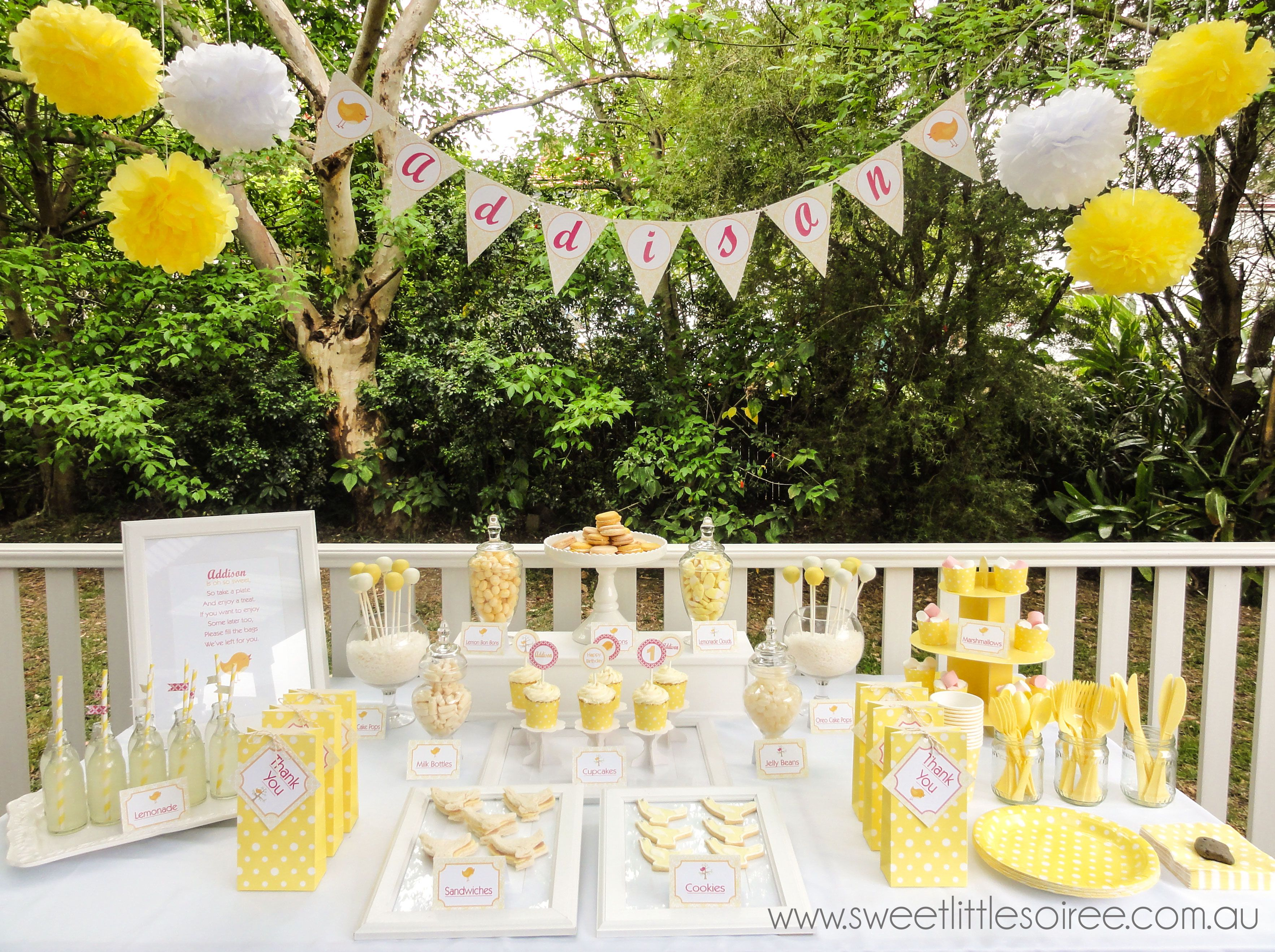 Sweet Little Bird Party Beautiful Yellow And White Colour Theme