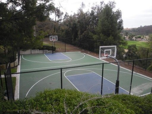 Outdoor Full Court With A RuffNeck Select Basketball System At Both Ends.