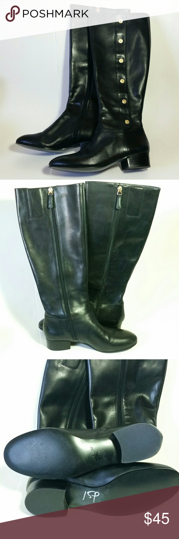 043ec3b2380 Nine West Oreyan Boots Leather Tall Riding Black 8 Beautiful tall leather  riding style boots. Oreyan style by Nine West. Black