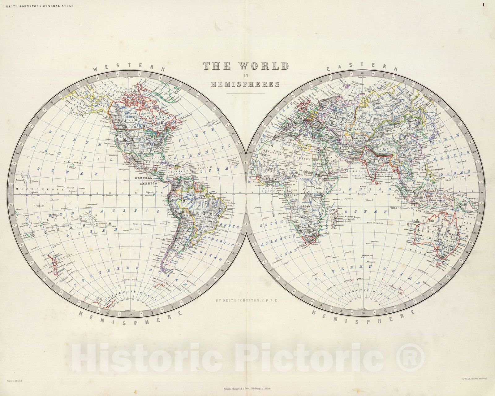<p>The world in hemispheres, by Keith Johnston, F.R.S.E. Engraved & printed by W. & A.K. Johnston, Edinburgh. William Blackwood & Sons, Edinburgh & London, (1861) | The royal atlas of modern geography, exhibiting, in a series of entirely original and authentic maps, the present condition of geographical discovery and research in the several countries, empires, and states of the world by Alexander Keith Johnston ... With a special index to each map. William Blackwood and Sons, Edi