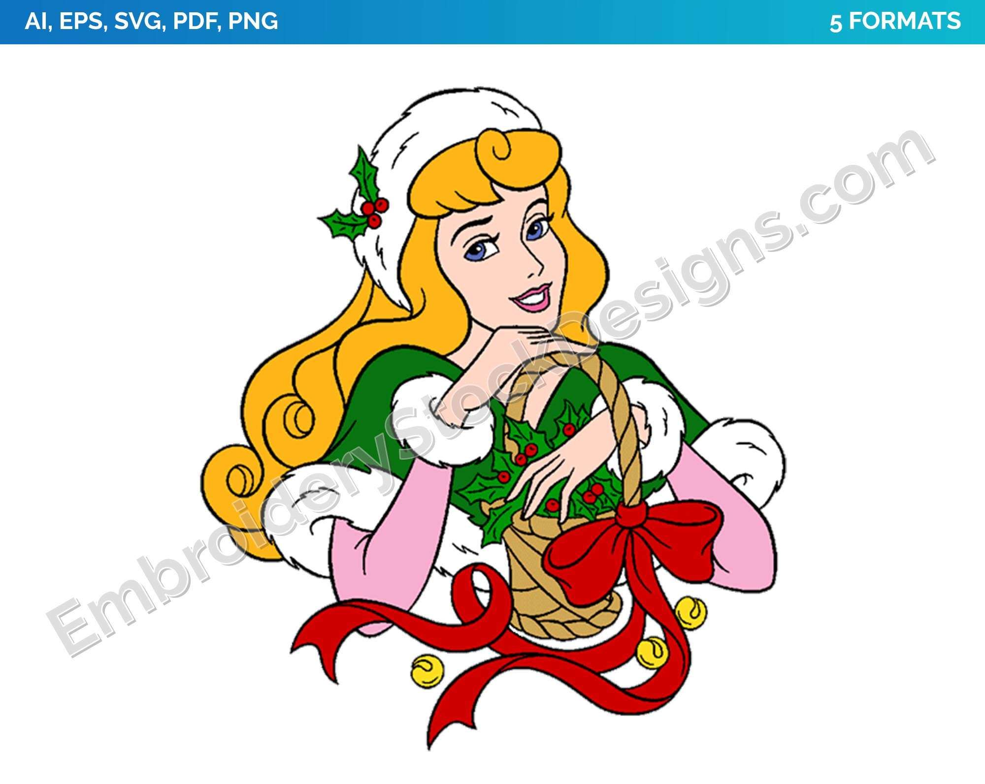 Aurora 5 Princess Christmas Holiday Disney Character Designs As Svg Vector For Print In 5 Formats Dsnyh000057 Embroidery Stock Designs In 2020 Disney Characters Disney Princess Aurora Disney Clipart