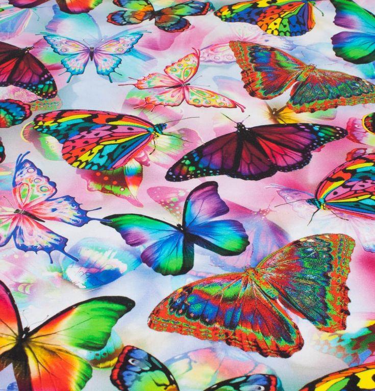digitalprint af sommerfugle, jersey - oeko tex 100