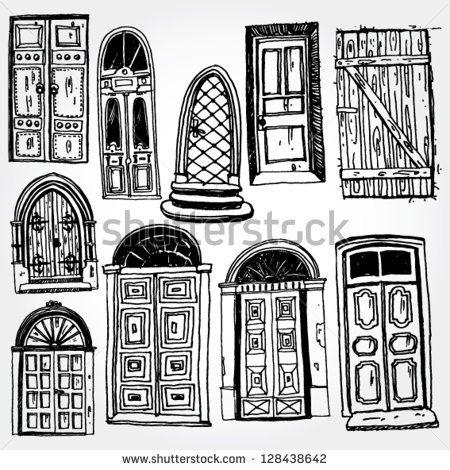 Old Doors Hand Drawn ドア イラスト イラスト ベクター画像