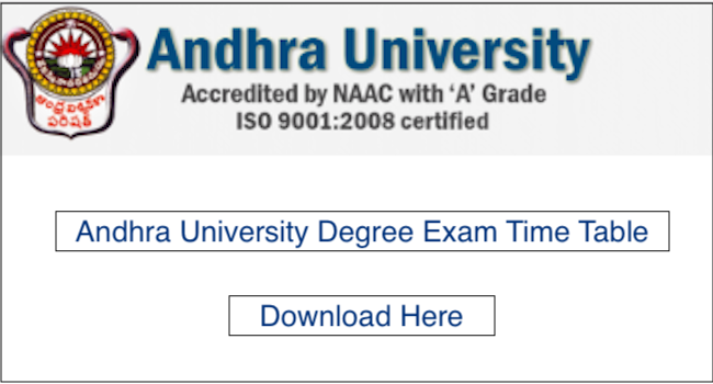 AU Degree Time Table 2019 issued at aucoe info, Download