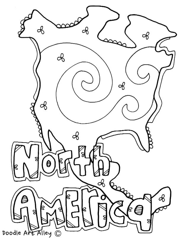 Continents Coloring Pages At Classroom Doodles North America