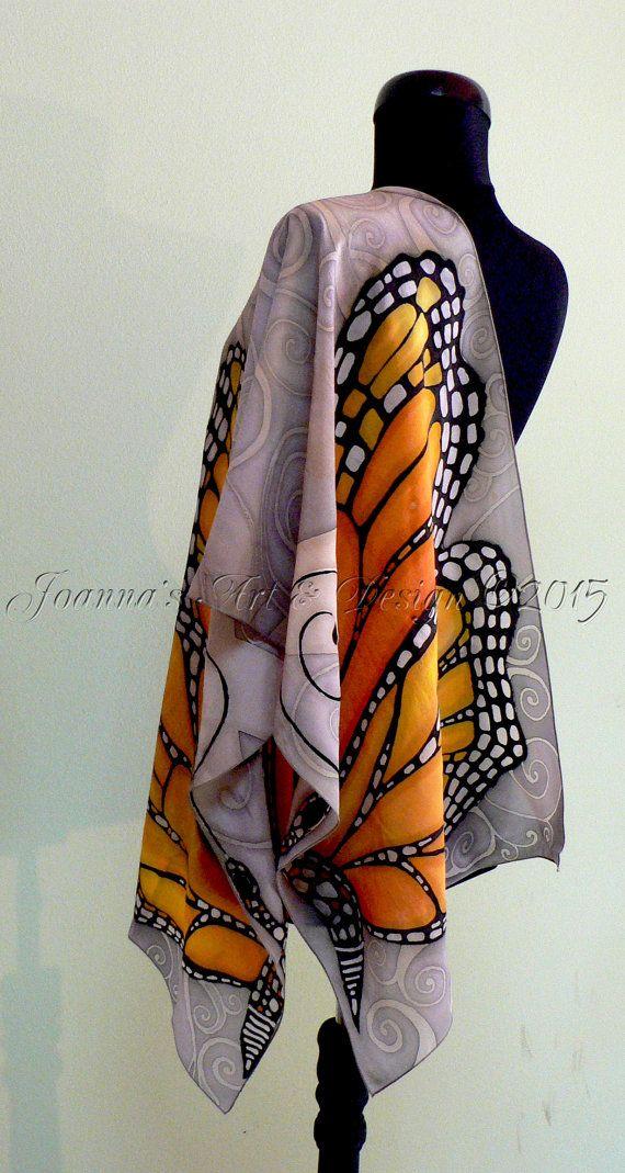 #Silk #Scarves - Hand painted pure silk scarf The Great Monarch by JoannaArtDesign http://www.lovelysilks.com