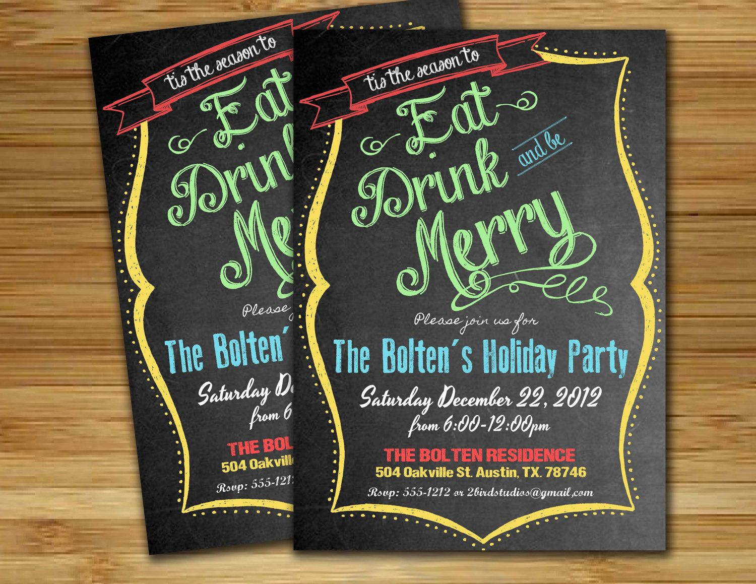 Christmas party invitation Holiday party by 2birdstudios on Etsy ...