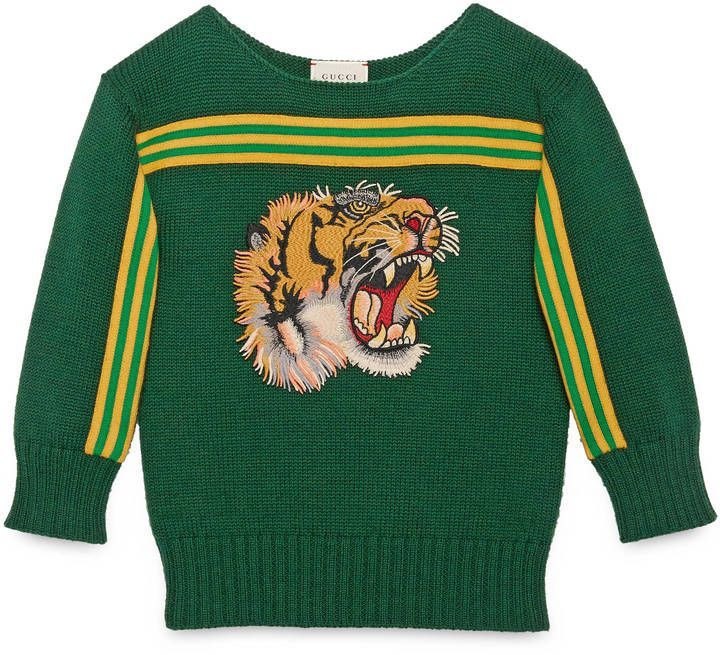 5c2881a4773b Children s sweater with tiger appliqué Gucci Shirts