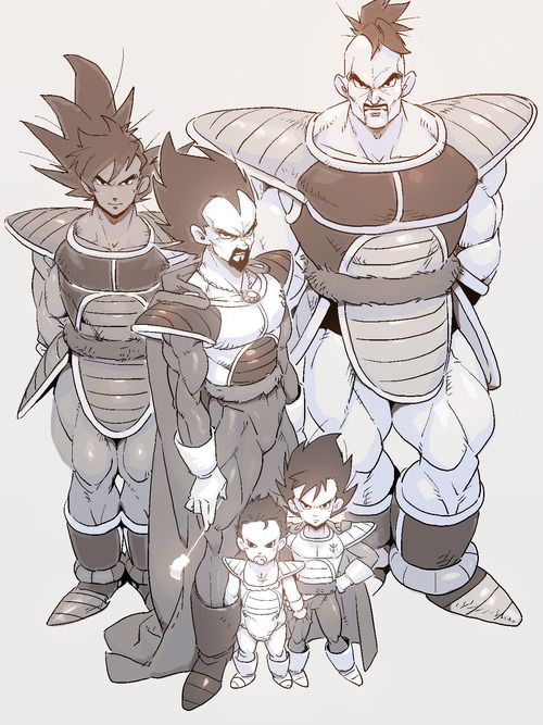 Turles, Nappa, King Vegeta, Tarble, and Prince Vegeta