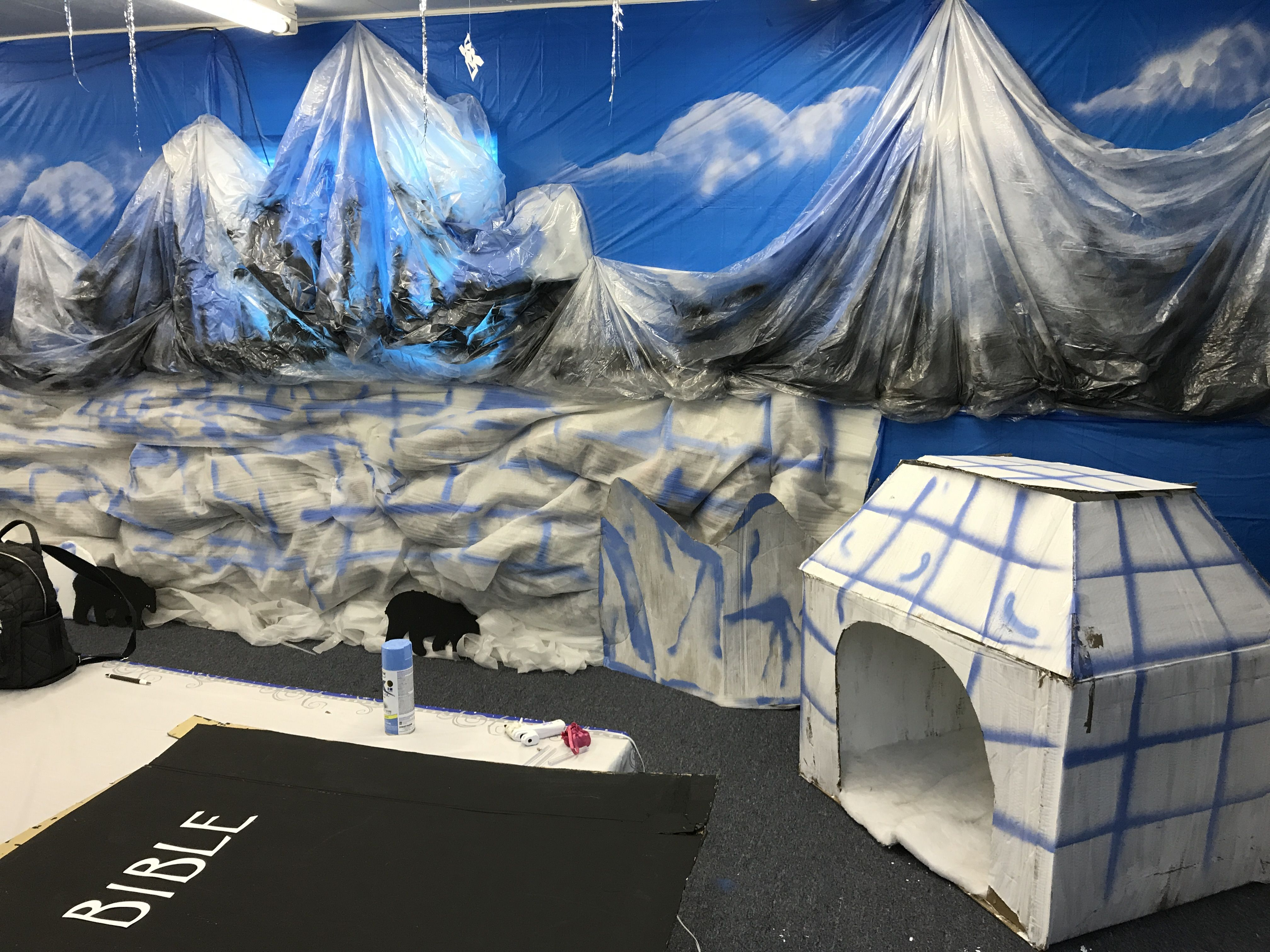 operation arctic vbs mountains made out of large plastic