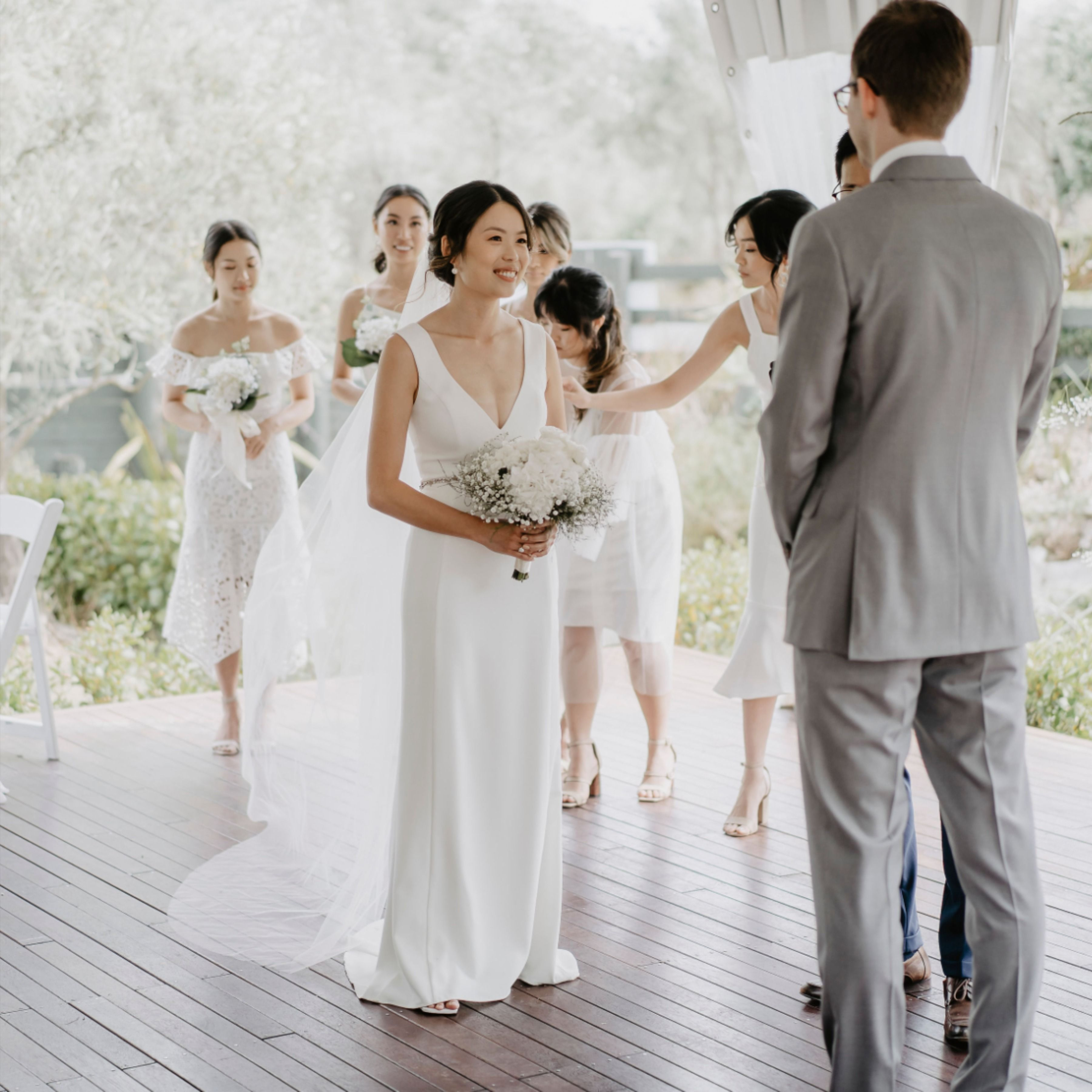 Real All White Wedding Wedding Dresses Fitted Wedding Dress White Winter Wedding [ 3600 x 3600 Pixel ]