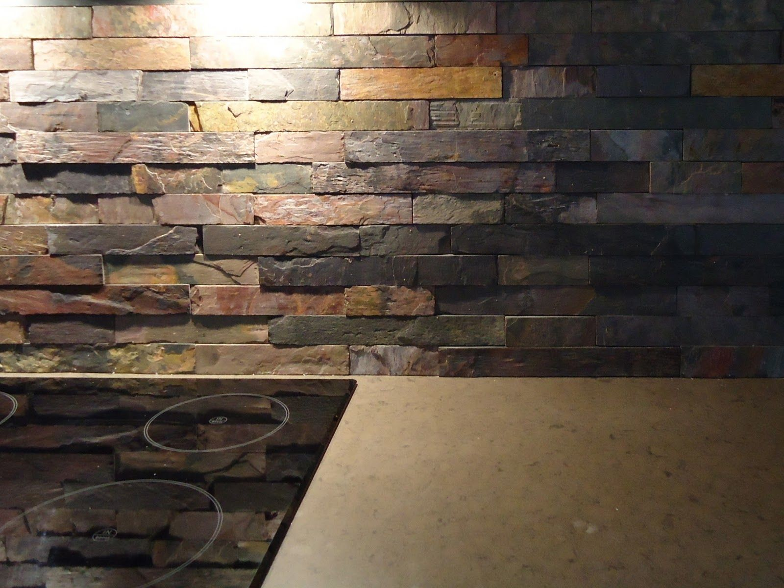 - Favored Stacked Stones Slate Backsplash With Electric Top Stove On