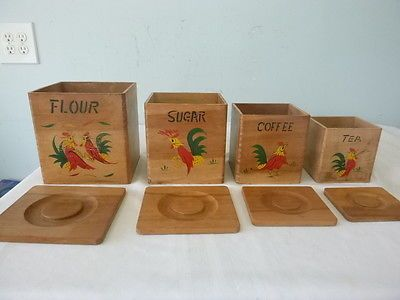 Set Of 4 Vintage Wooden Nesting Rooster Design Canister Set Tongue In Groove Canister Sets Wooden Canisters