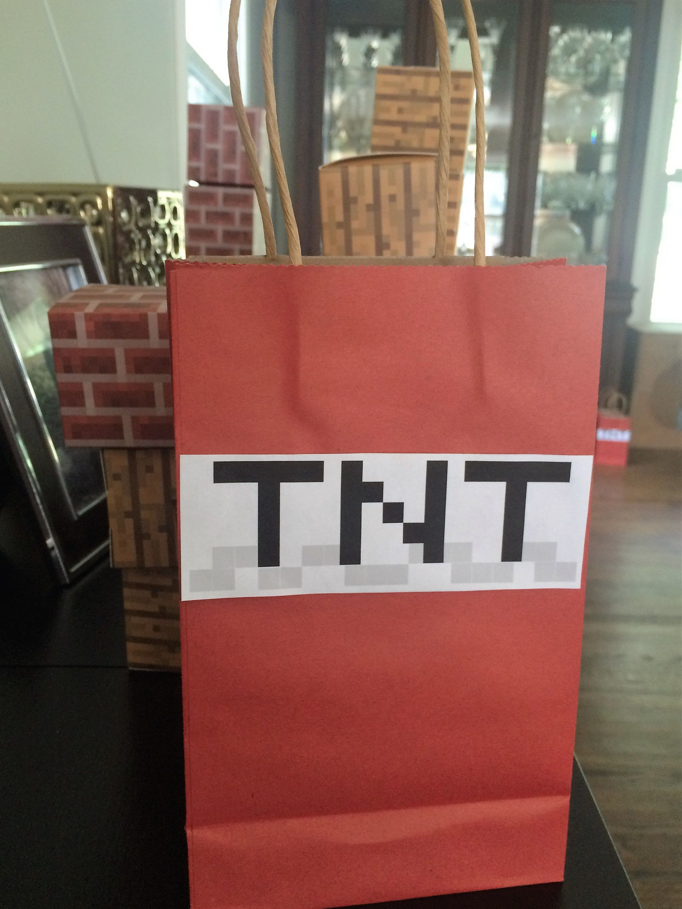 DIY Minecraft TNT gift bags. I used red bags from Dollar Tree (3 ...